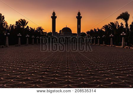 Mausoleum of the first president in Monastir at the evening. Tunisia Africa.