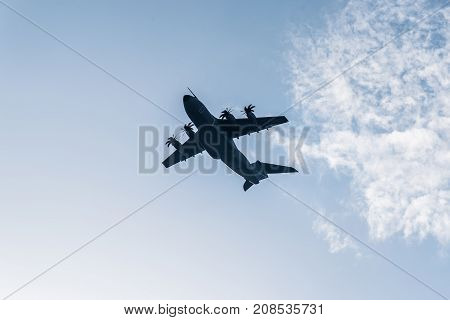 Madrid Spain - October 12 2017: Airbus A400M transport aircraft in Spanish National Day Parade. Several troops take part in the army parade for Spain's National Day.