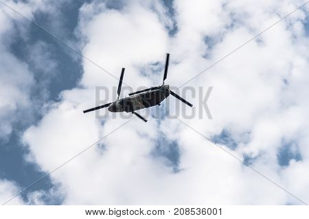 Madrid Spain - October 12 2017: Chinook helicopter in Spanish National Day Parade. Several troops take part in the army parade for Spain's National Day.
