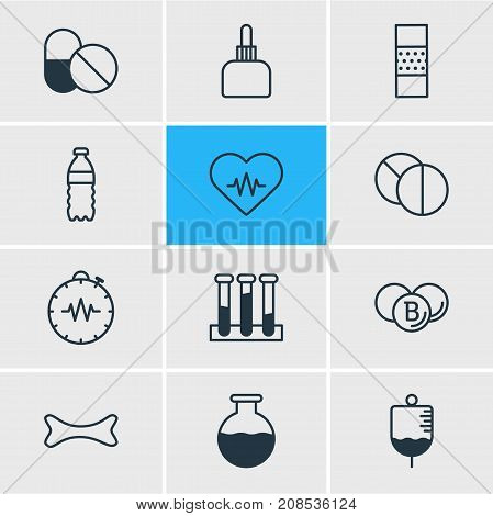 Editable Pack Of Vial, Antibiotic, Antibody And Other Elements.  Vector Illustration Of 12 Medicine Icons.