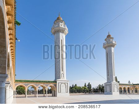 Mausoleum of the first president in Monastir at the evening. Tunisia, Africa.
