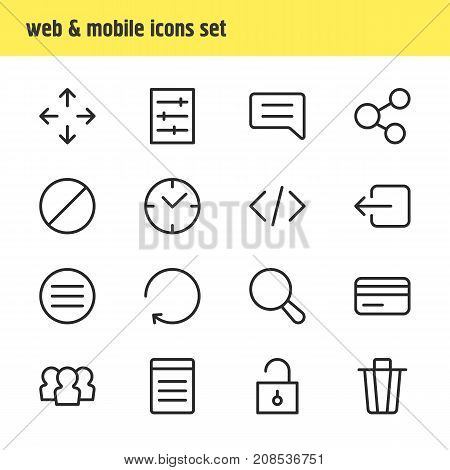 Editable Pack Of Direction, Reload, Block And Other Elements.  Vector Illustration Of 16 App Icons.