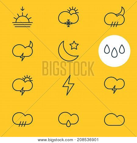 Editable Pack Of Weather, Fulminant, Windstorm And Other Elements.  Vector Illustration Of 12 Weather Icons.