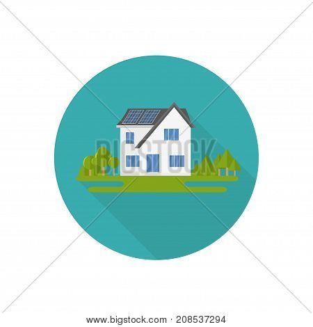 Clean Modern House With Solar Panels. Eco Friendly Alternative E