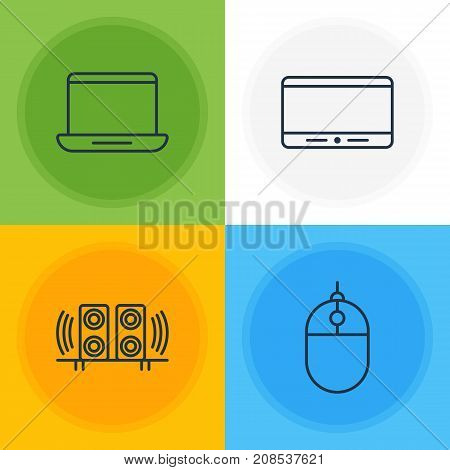 Editable Pack Of Monitor, Cursor Controller, Computer And Other Elements.  Vector Illustration Of 4 Technology Icons.