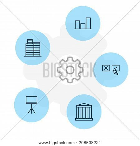 Editable Pack Of Recision , Board Stand, Graph Elements.  Vector Illustration Of 5 Trade Icons.