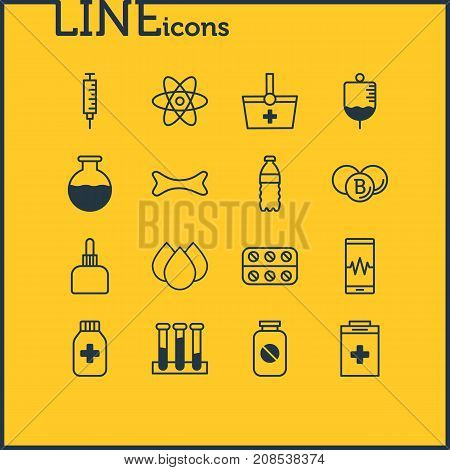 Editable Pack Of Basket, Phone Monitor, Experiment Flask And Other Elements.  Vector Illustration Of 16 Health Icons.
