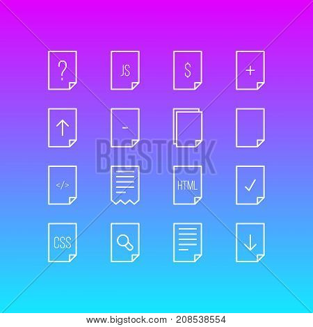 Editable Pack Of Document, HTML, Search And Other Elements.  Vector Illustration Of 16 Paper Icons.