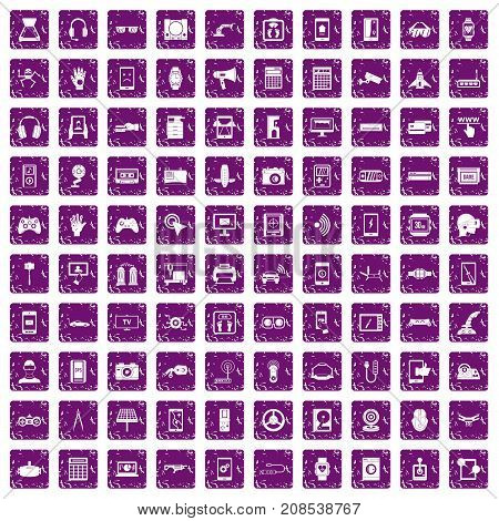 100 adjustment icons set in grunge style purple color isolated on white background vector illustration