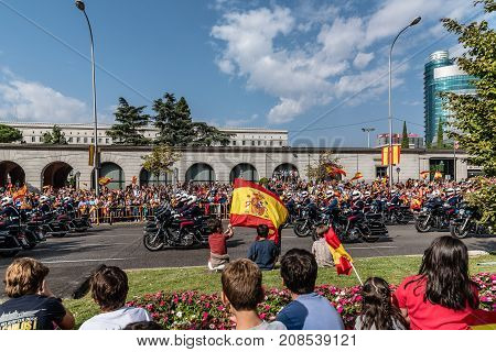 Madrid Spain - October 12 2017: Motorcycles in Spanish National Day Parade. Several troops take part in the army parade for Spain's National Day.