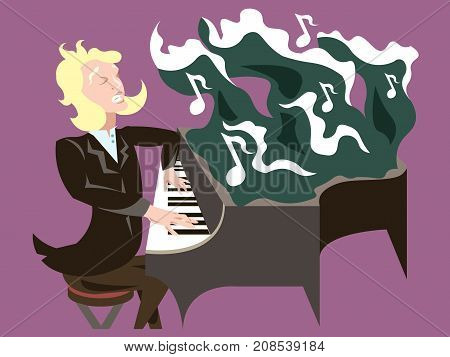 Blonde musician playing piano. Happiness, serenity, mindfulness concept illustration vector.