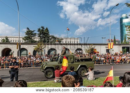 Madrid Spain - October 12 2017: Spanish National Day Army Parade. Several troops take part in the army parade for Spain's National Day.
