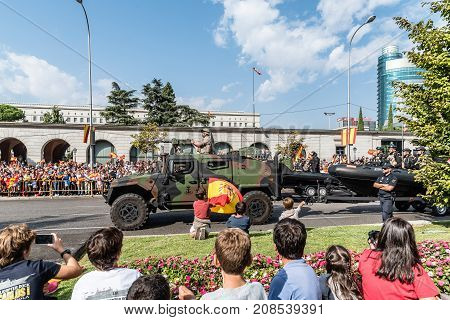 Madrid Spain - October 12 2017: Vehicles in Spanish National Day Army Parade. Several troops take part in the army parade for Spain's National Day.