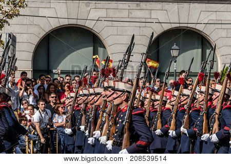 Madrid Spain - October 12 2017: Soldiers marching in Spanish National Day Army Parade. Several troops take part in the army parade for Spain's National Day. K