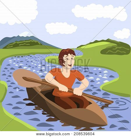 Young man sailing a boat in river. Peace of mind. Happiness, freedom, mindfulness concept illustration vector.