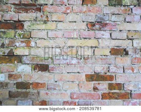 Red old worn brick wall texture, vintage background