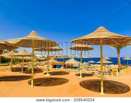 Sharm El Sheikh Egypt - September 25 2017: The view of luxury hotel Dreams Beach Resort Sharm 5 stars at Sharm El Sheikh Egypt on September 25 2017