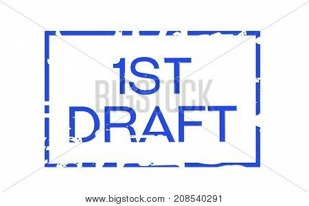 First draft sticker. Authentic design graphic stamp.