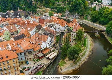 Czech krumlov. Medieval city and the river Vltava. Red tile and narrow streets. Houses made of stone. Medieval houses. Czech Republic
