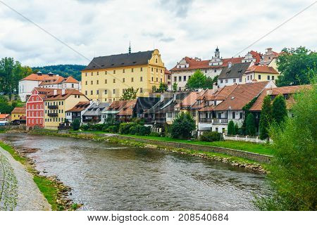 Cesky Krumlov on the river Vltava. Red tile and narrow streets. Houses made of stone. Medieval houses. Czech Republic