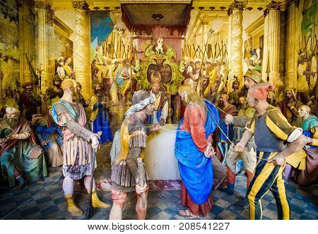 biblical figures representation (presepe) of the Sanhedrin trial of Jesus at the Caiaphas tribunal (Sacro Monte di Varallo Piedmont Italy May 24 2017)