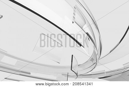3D transparent glass curved shapes. Abstract technology, science and engineering concept. Realistic transparency, shadows and reflections. 3D rendering.