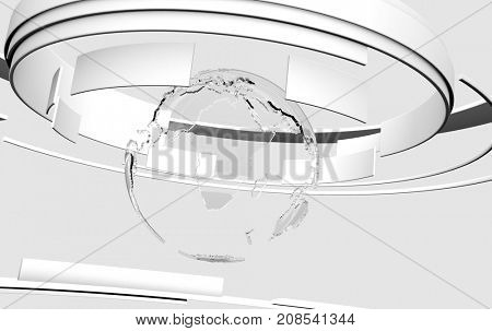 3D white curved shapes and glass Earth globe. TV news, broadcasting, technology, science and engineering concept. Realistic shadows and reflections. 3D rendering.