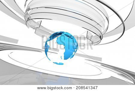 3D glass curved shapes and blue Earth globe. TV news, broadcasting, technology, science and engineering concept. Realistic shadows and reflections. 3D rendering.