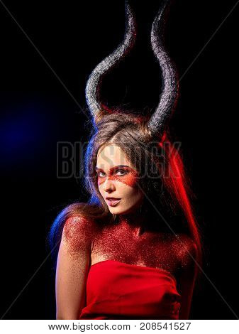 Mad satan woman on black magic ritual of hell. Witch reincarnation mythical creature Sabbath. Devil absorbing soul Halloween. Zodiac Capricorn Aries. Astral entities.