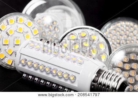 Newest LED light bulb on black background