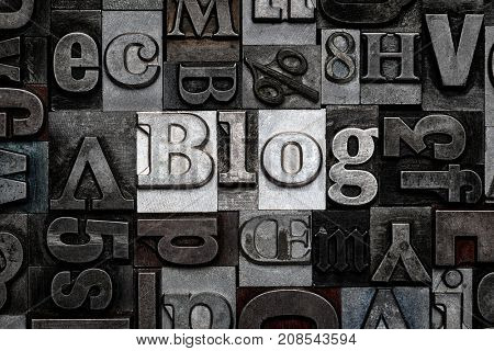 The word Blog made from old metal letterpress letters