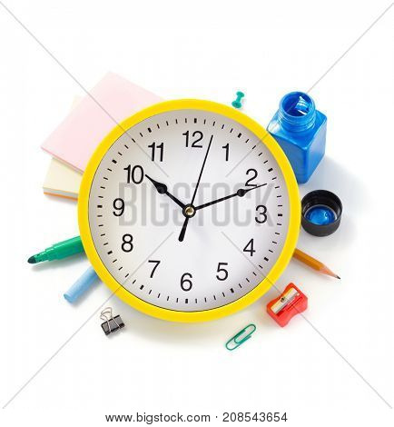 school supplies isolated at white background