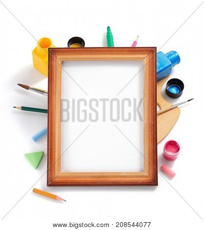 paint art supplies isolated at white background