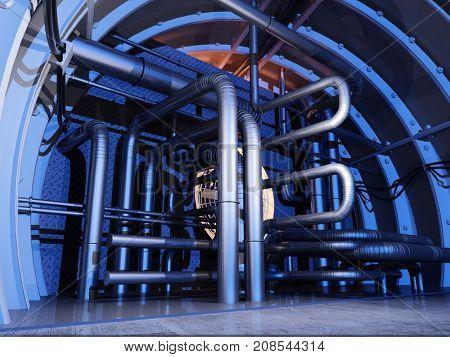 Modern industrial interior,3d render.