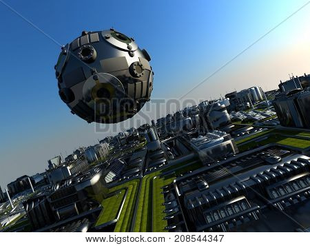 A space object above the city..3d render