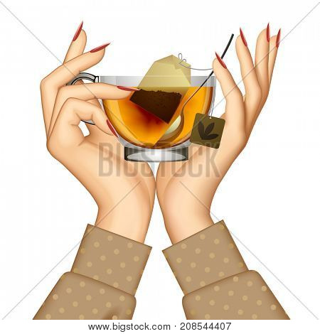 Woman's hands holding transparent glass cup with tea and spoon isolated on white