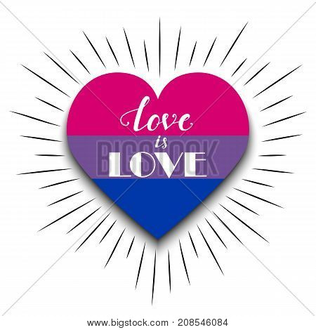Vector illustration of bisexual heart with hand drawn inscription and rays on white background.