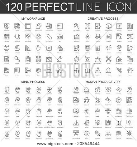 120 modern thin line icons set of my workplace, creative process, mind process, human productivity isolated.