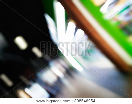Shopping Mall With Blurred Background And Bokeh Effect