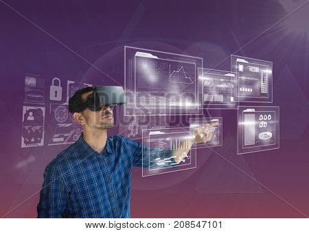 Digital composite of man with vr headset using interface