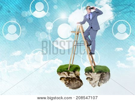 Digital composite of Businessman with binoculars on floating rock platforms and ladder with profiles interface in sky