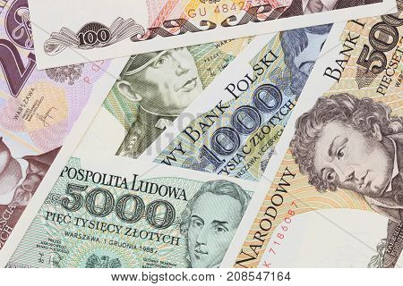 Old Polish banknotes close up in studio. PRL money zloty.