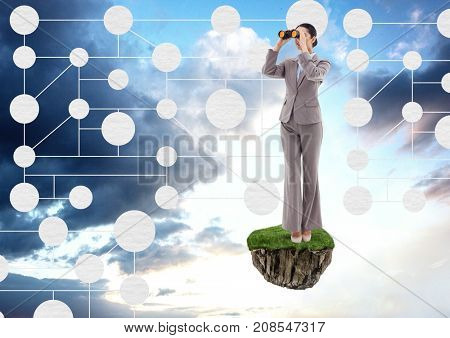 Digital composite of Businesswoman with binoculars on floating rock platform with interface mind map in sky