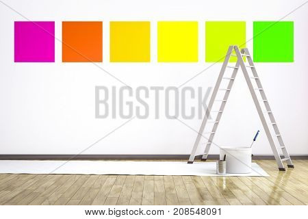 3d illustration of a room with six different colors on the wall to choose