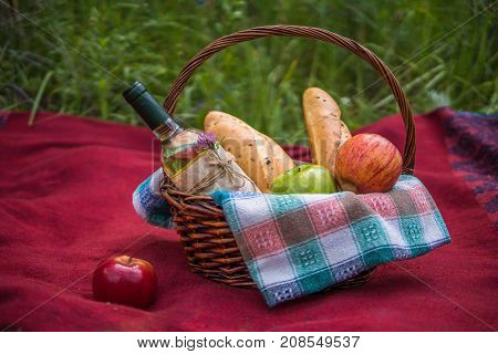 Picnic Basket On The Red Blanket At Nature. Apples, White Wine And Baguettes