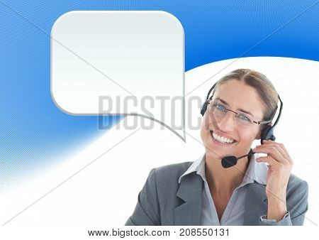 Digital composite of Customer care service woman with chat bubble