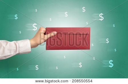 Female hand holding empty and full envelope with green background and symbols around