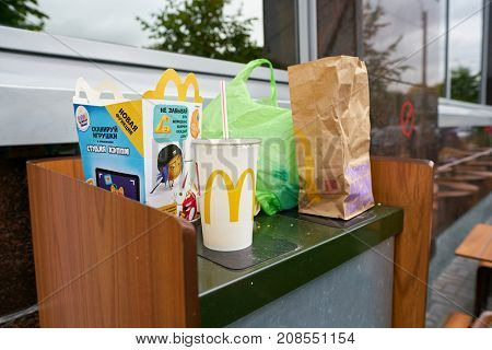 SAINT PETERSBURG, RUSSIA - CIRCA SEPTEMBER, 2017: waste packaging at a Mcdonalds. McDonald's is an American hamburger and fast food restaurant chain.