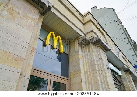 SAINT PETERSBURG, RUSSIA - CIRCA SEPTEMBER, 2017: a McDonald's restaurant in Saint Petersburg. McDonald's is an American hamburger and fast food restaurant chain.