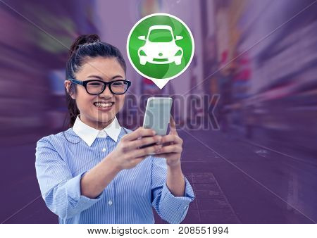 Digital composite of Woman holding phone with car icon in city